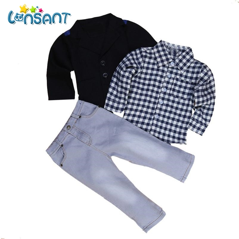LONSANT 2018 Handsome Kids Boys Clothes Set Business Suit + Shirt Tops + Trousers Children Clothes Conjunto Menino Dropshipping