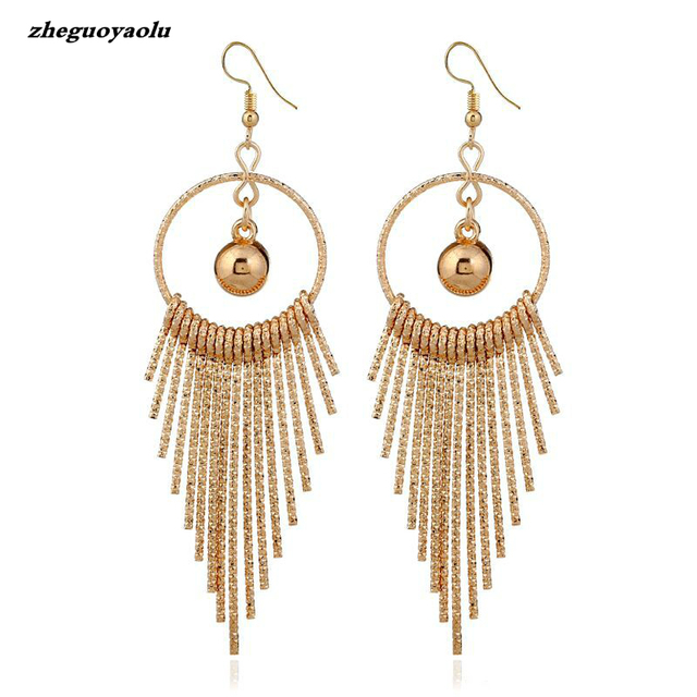 9beb82edf Ethnic Alloy Tassel Earrings Dangle Bohemian Earrings For Women Gold Ball  Boho Fringe Drop Earrings Vintage