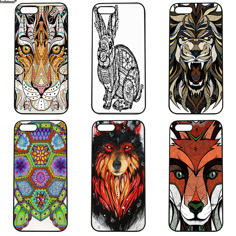 Hard PC Cover Aztec Animals Rabbit Lion Elephant Phone Cases for iphone 8 7 6 6S Plus X 5S 5C 5 SE 4 4S iPod Touch 4 5 6 Shell