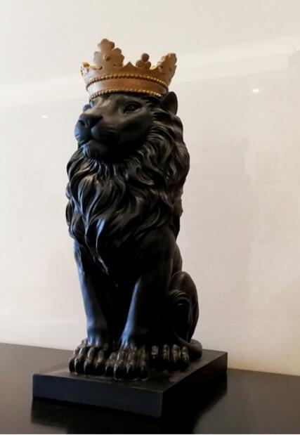 Black crown lion statue handicraft decorations christmas decorations for home sculpture escultura home decoration accessories 3