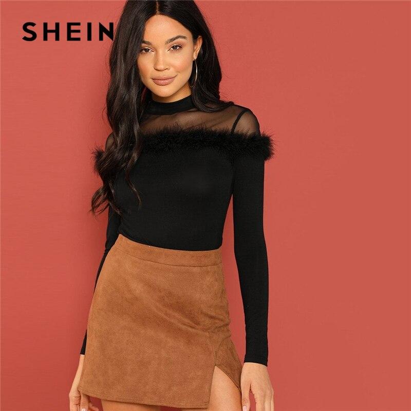 SHEIN Black Mesh Yoke Faux Fur Detail Fitted Stand Collar manga larga Slim Tee otoño Oficina mujer Casual camiseta Top