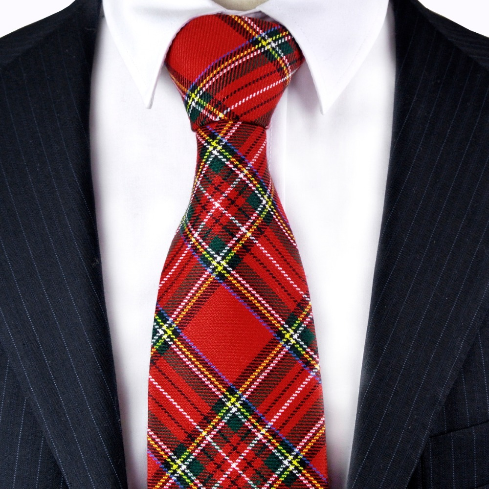 Checket Plaid Scottish Tartan Red Crimson Grå Grå Grøn Gul Blå Herre Slips Frakt Gratis Suit Gave til mænd