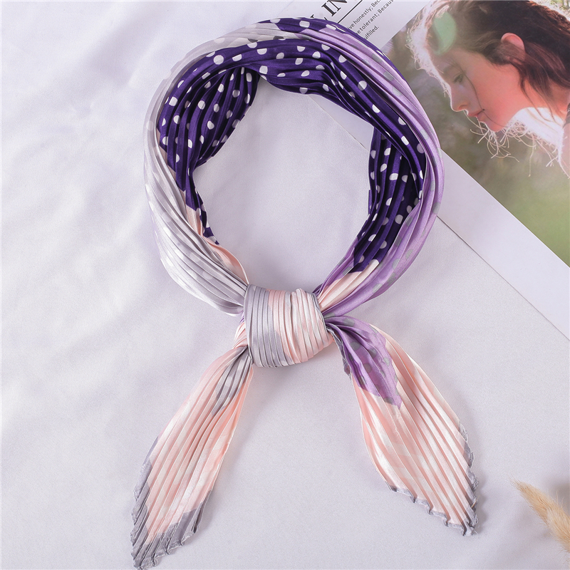 Chiffon Crinkle Scarf Women Square Silk Neck Scarfs For Female Dot Retro Hair Band Scarves Foulard Handkerchief