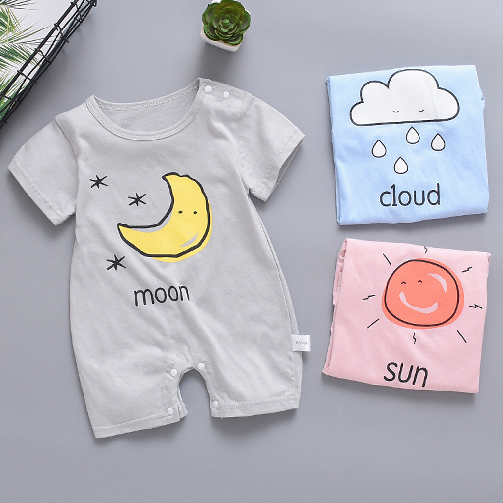 Hot Sale Brand Newborn Baby Boy Girl Short Sleeve Jumpsuit Sun Cloud Moon Print   Rompers   Outfit Sunsuit Short sleeve