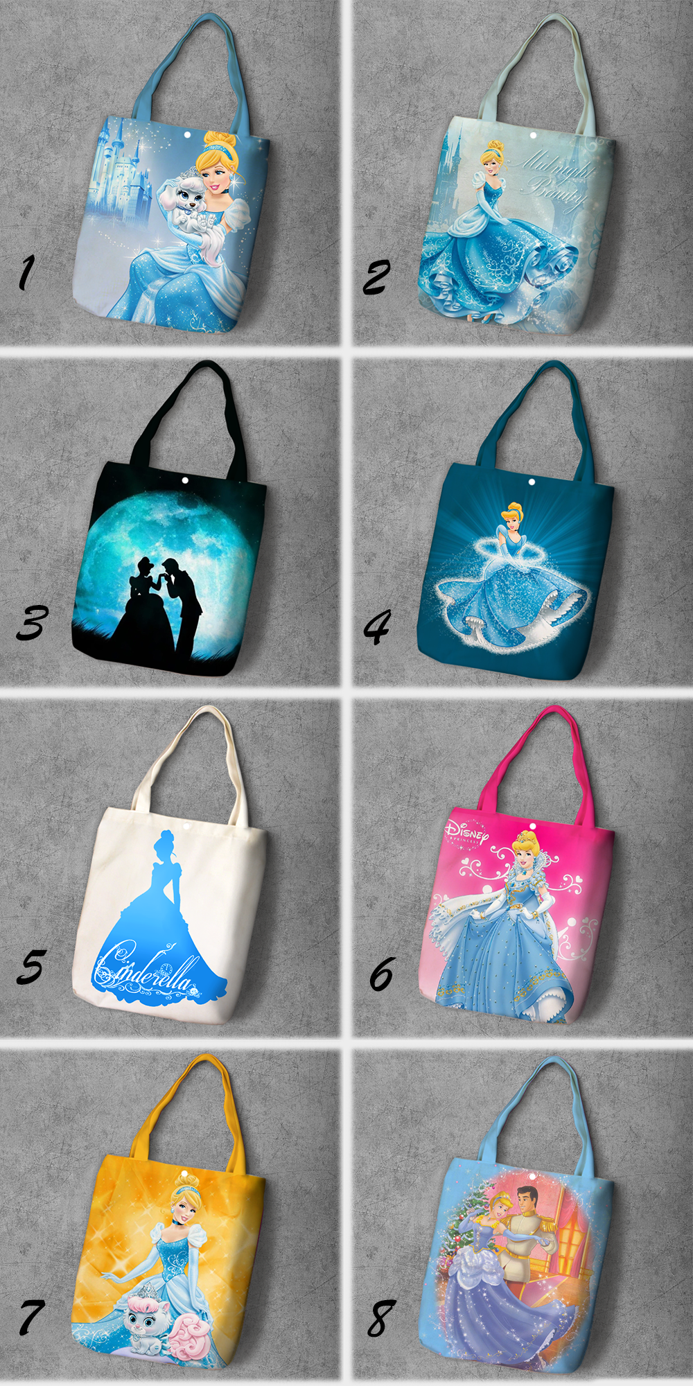 Cinderella Cartoon Student Printed Canvas Recy Shopping Bag Large Capacity Customize Tote Fashion Ladies Casual Shoulder Bags