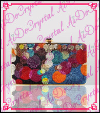 Aidocrystal special crystal blink rhinestone  colorful clutch  purse  for ladies