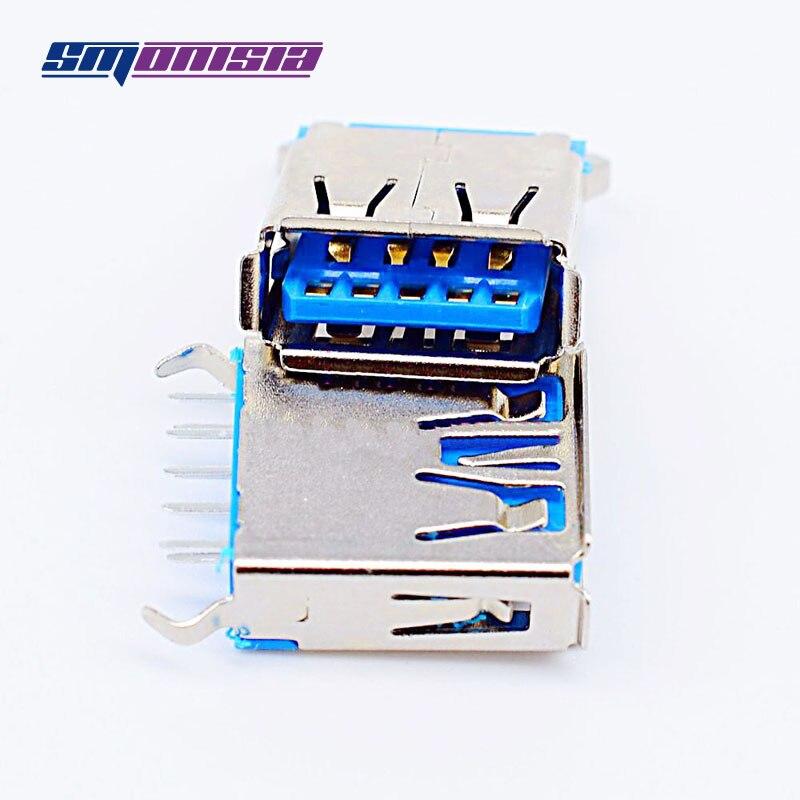 1000pcs 3.0 USB Vertical Female Socket 180degrees AF Crimping 15.0 USB Plug Connector Copper