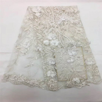 African lace fabrics african tulle net lace with beads White 3D lace fabric for wedding dresses 5 yards/lot H862-1
