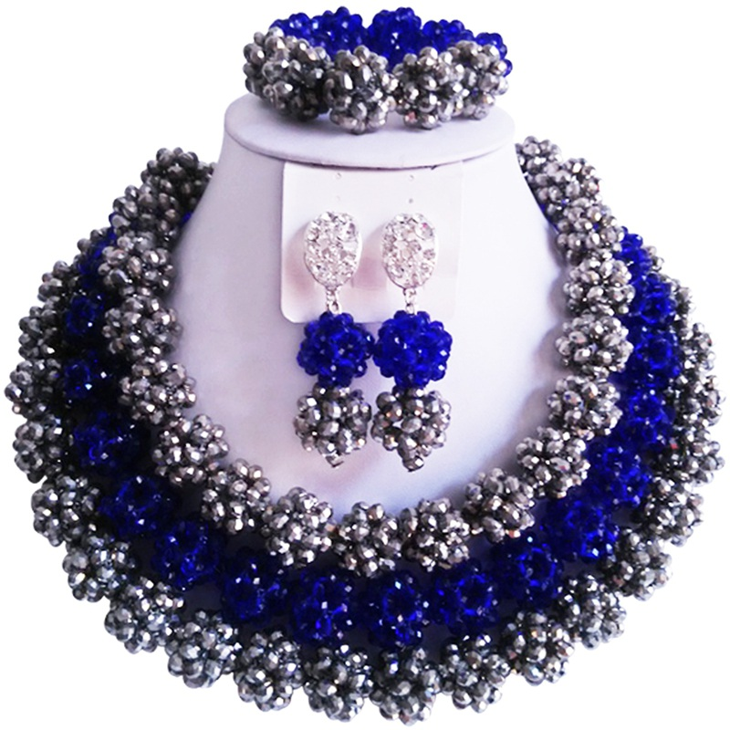 Nigerian Wedding Silver Color Royal Blue Romantic Crystal Beads Jewelry Set for Women 3C SJTQ 14