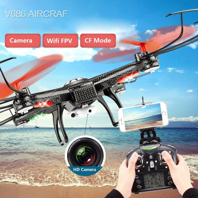 Free Shipping  RC drone V686K 6-Axis Gyro 2.4G 4CH FPV Quadcopter WIFI UFO with HD Camera airplane Vs X8W H9D CX-30W new arrival rc drone with camera hd 2mp remote control aircraft fpv airplane 4ch 6 axis gyro with monitor light pk syma x8w