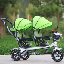 3 Wheel Twins Stroller Double Seat Tricycle Shockproof Baby Stroller 3 in 1 Portable Pram Twins Child Kid Bicycle Kinderwage