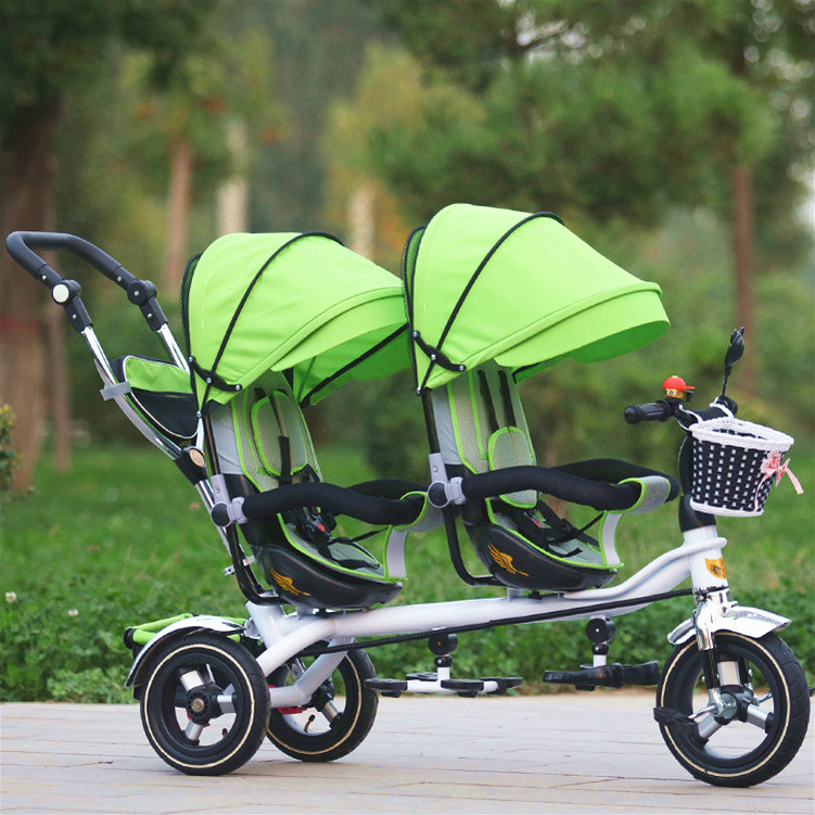 3 Wheel Twins font b Stroller b font font b Double b font Seat Tricycle Shockproof