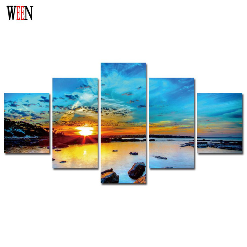 WEEN Sun Rise Peintures Sur Toile Pour Le Salon Mur Art Moderne Lac - Décor à la maison