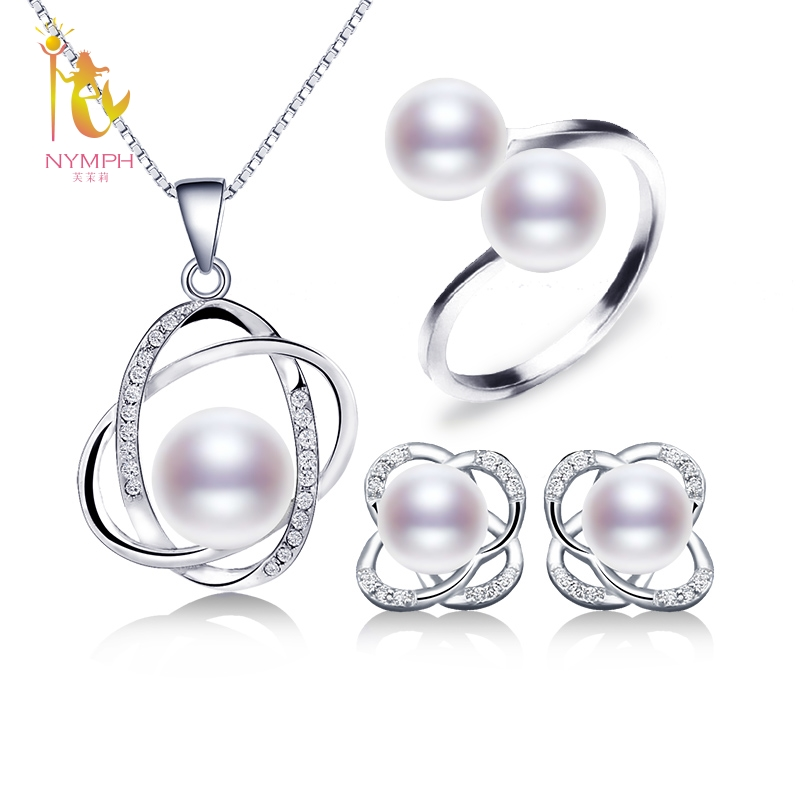 NYMPH Pearl Jewelry Sets For Women Natural Freshwater Pearl Earrings Rings Necklace Pendant New Trendy Wedding
