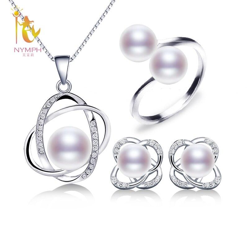 Nymph perla Juegos de joyería para las mujeres perla de agua dulce natural Pendientes Anillos COLLAR COLGANTE nuevo regalo de boda de moda Rosa T303