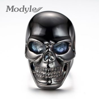 Modyle 2018 fashion black ring for men skull stainless steel holloween bike jewelry gifts 1