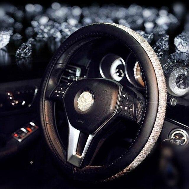 Car Steering Wheel Cover Leather FASHION Rhinestone Covers Ornament Accessories For Women Girls Mazda CX 7 Suzuki SX4 Kia