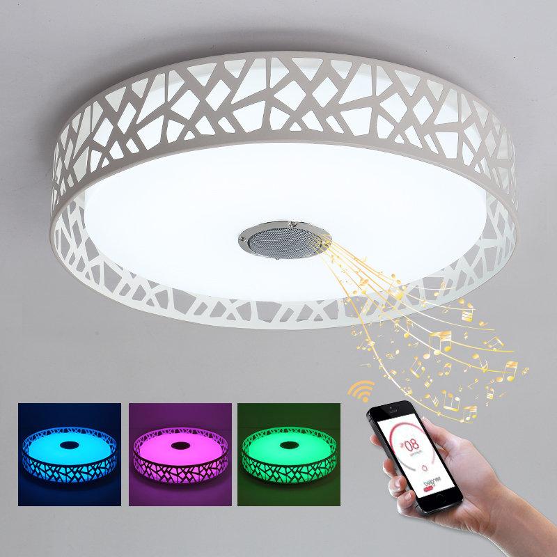 BLUE TIME D47cm Music Lamp Modern LED Ceiling Lights With Bluetooth APP Control Color Changing Lighting Ceiling Lamp For Bedroom 5m 300pcs 3528 smd leds 36w 900lm non waterproof highlight decoration strip lamp rgb