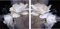 Home wall art canvas painting 2 panels European Markor style reproduction twin lotus
