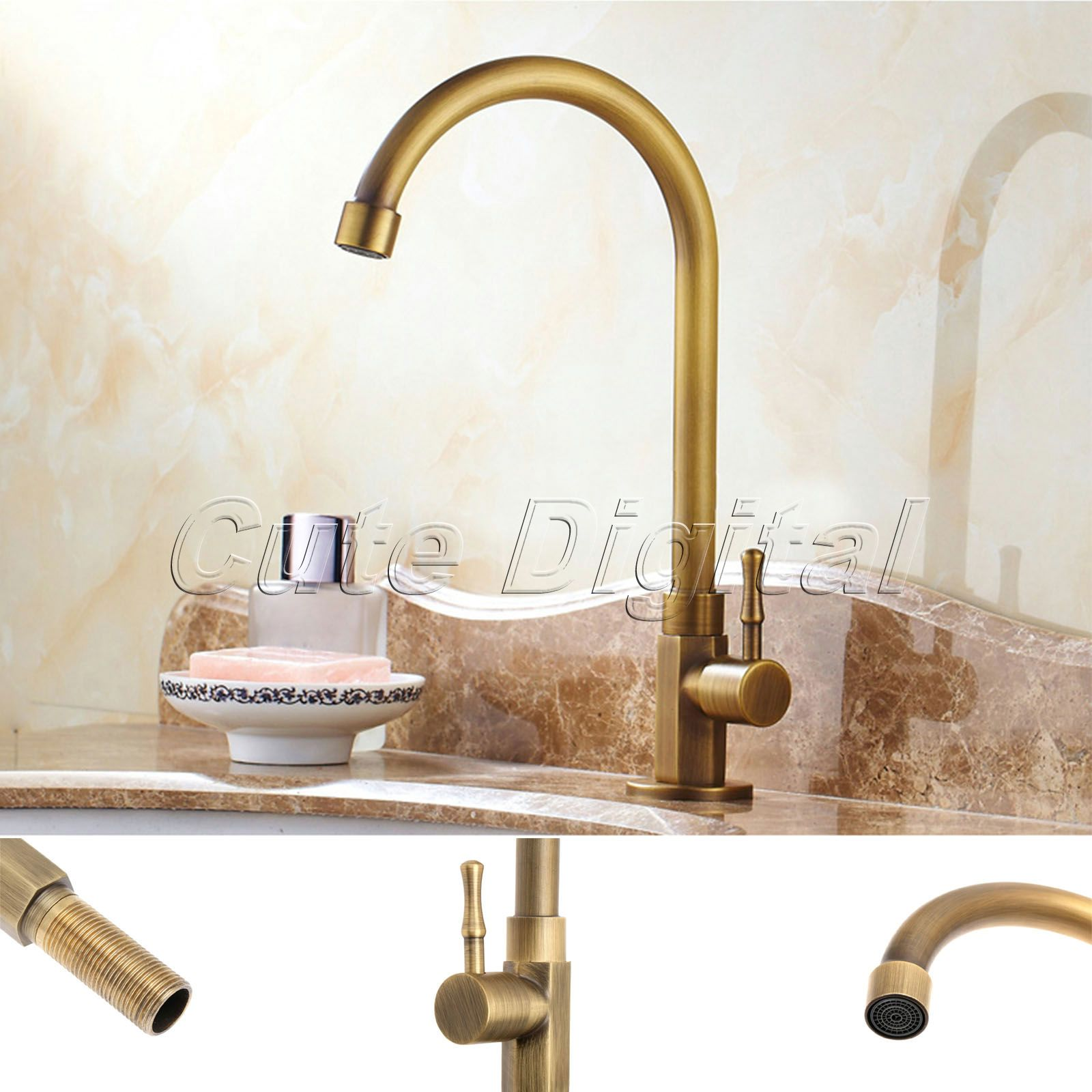 Antique brass luxury bathroom sink faucet single handle swivel spout kitchen faucets vessel sink mixer water tap basin faucets in basin faucets from home