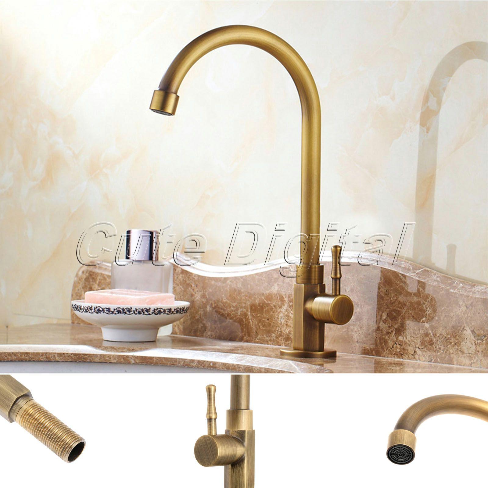 Antique Brass Luxury Bathroom Sink Faucet Single Handle Swivel Spout Kitchen Faucets Vessel Sink Mixer Water