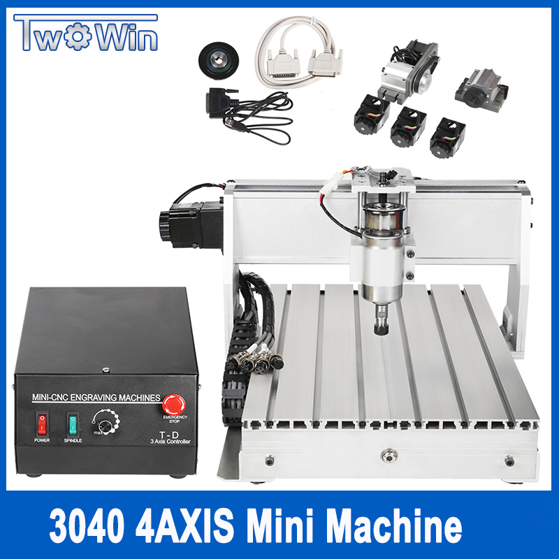 CNC 3040 T-D 4-axis CNC Router Engraver Threads Screw Cutting Milling Drilling Engraving Machine Mimi CNC 3040 300W cnc 3040 cnc router cnc machine 3 4 5 axis mini engraving machine woodworking tools diy hy 3040 high quality metal acrylic