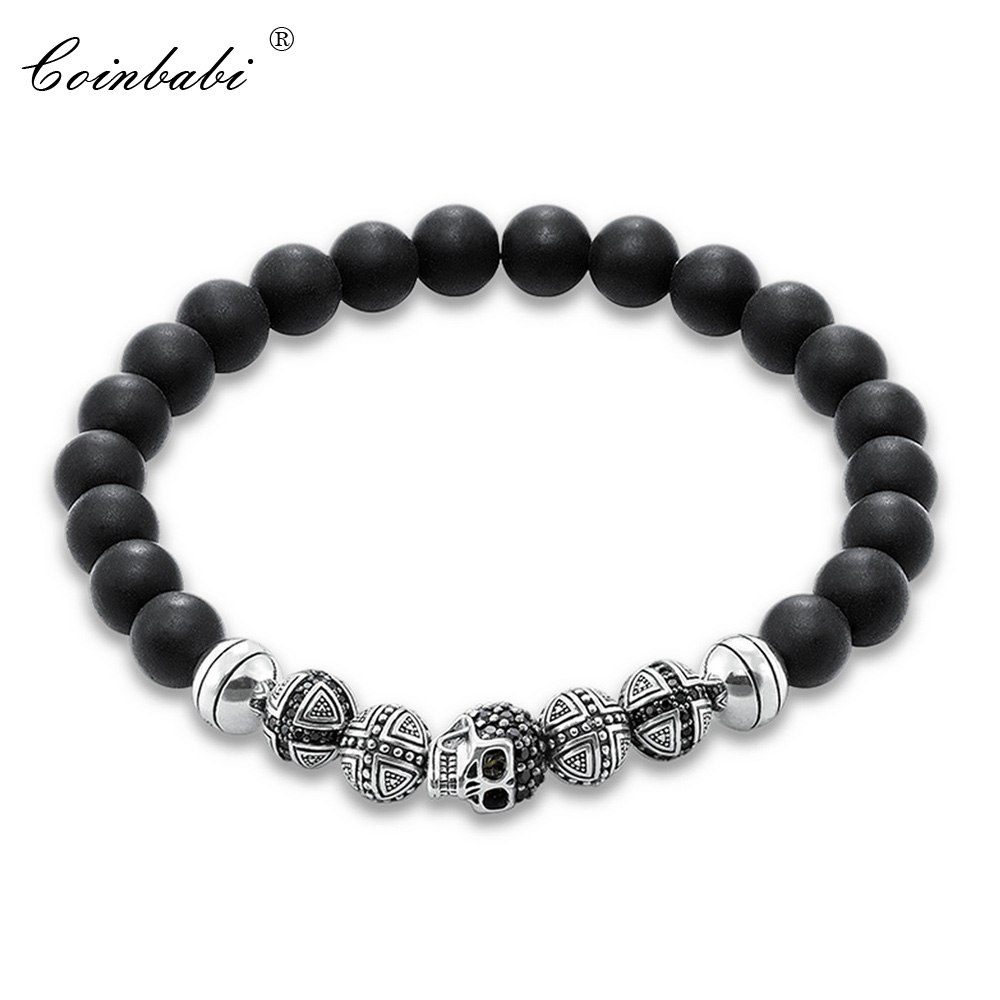 Thomas Skull Cross & Matted Obsidian Beads Rebel Elastic Bracelet, Ts 925 Sterling Silver Heart Punk Jewelry Gift For Men Women