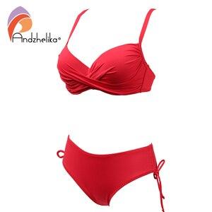 Image 3 - Andzhelika 2020 Plus rozmiar Bikini Set jednokolorowy strój kąpielowy Halter Bikini lato plaża nosić krzyżowe sznurowania stroje kąpielowe średnio wysoka talia strój kąpielowy