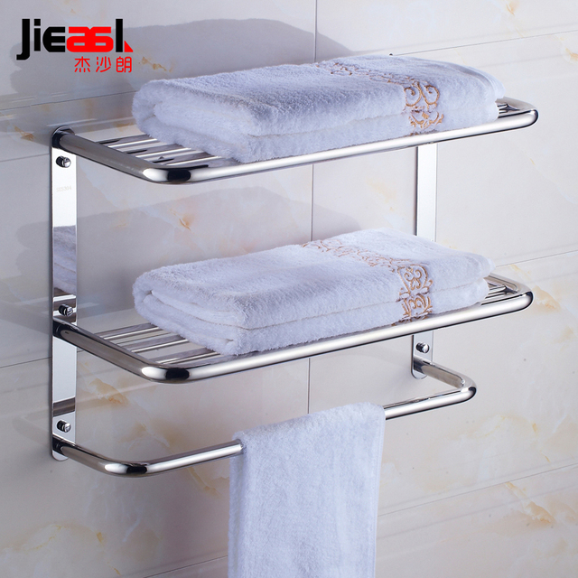 SUS304 Stainless Steel Bathroom Towel Rack Shelf Wall Mounted Three ...