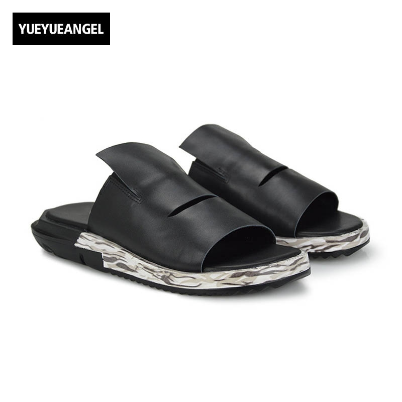 Slip On Men Casual Shoes Male Sandal New Fashion Genuine Leather Flat High Quality Brand Korean Style Thick Bottom Large Size 45 slip on men casual shoes male sandal new fashion genuine leather low heel high quality brand korean style thick bottom plus size