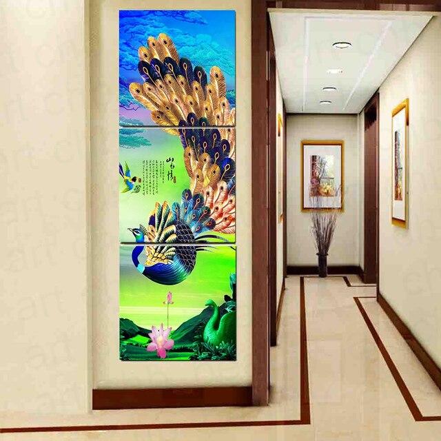 3 Paneles de Arte de la Lona Chino Colorido del Pavo Real Impreso ...