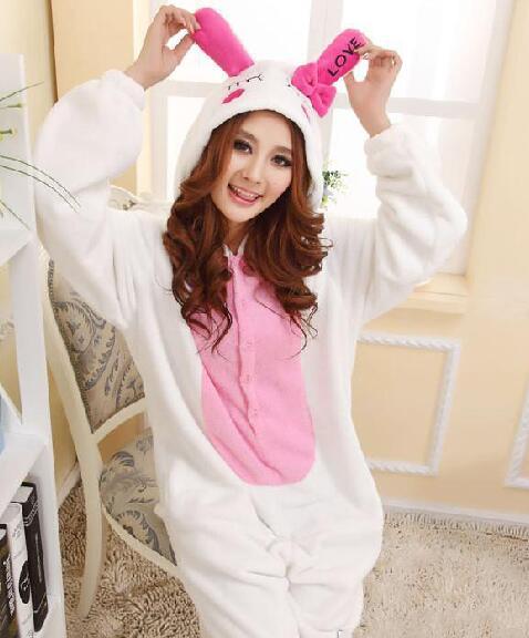 Wholesale-Womens animal pajamas one piece long-sleeve love rabbit sleepwear underwear costume cosplay pajamas christmas gift