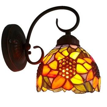 Kostenloser Versand Europäischen Stil Garten Sonnenblumen Kleine Wand Lampen Tiffany Nacht Vor Mode Spiegel Glas Beleuchtung Balkon