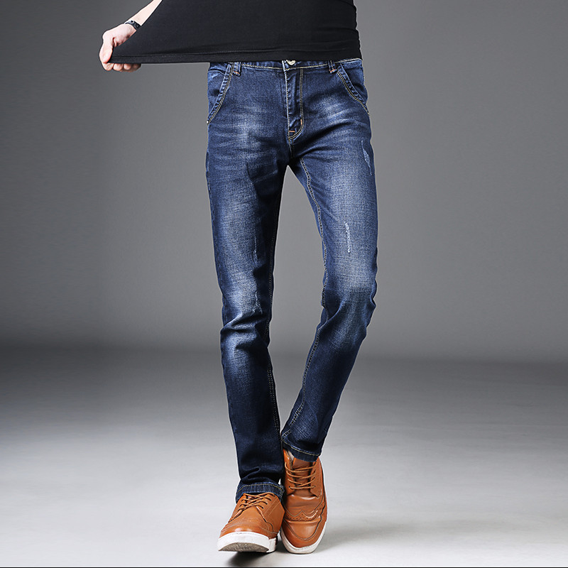 2018 Men Jeans Business Casual Summer Little feet Slim Fit Blue Jeans Stretch Denim Pants Trousers Classic Cowboys Young Man