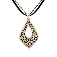 Vintage Retro Women Geometric Pendant Necklace Full Cz Crystal Fashion Antique Flower Long Necklaces Elegant Sweater