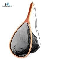 Maximumcatch fl04フライ釣りランディングネットナイロンネットで木製ハンドルキャッチ&リリース釣りネッ