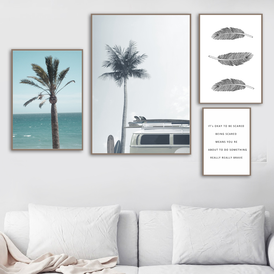 Palm leaves Sea Beach Vintage Car Quotes Wall Art Print Canvas Painting Nordic Posters And Prints Wall Pictures For Living Room