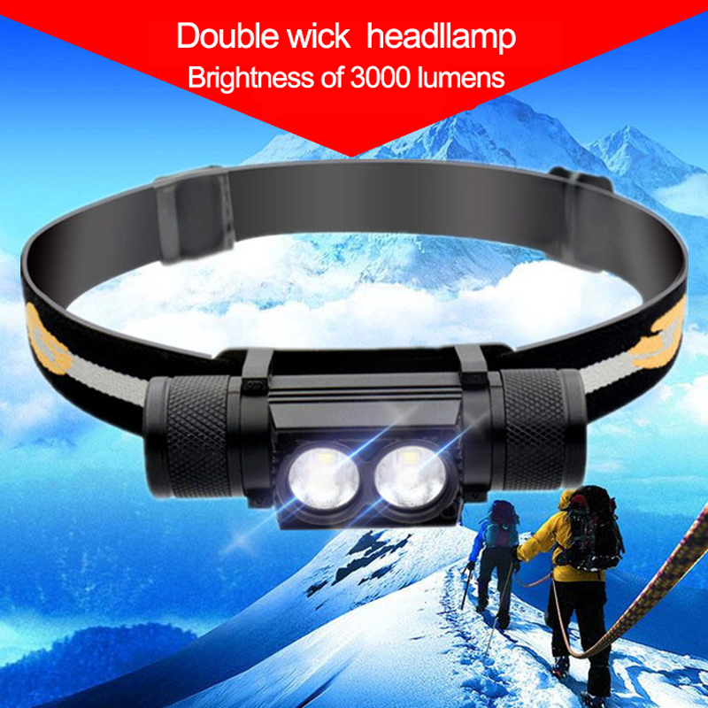 Waterproof USB CREE XM L2 LED Headlamp Headlight 18650 Battery Bicycle Torch Head Flashlight Led Bike Light Camping Light lotus attach head cree xm l t6 5modes led tactical flashlight mechanical zoom torch waterproof hunting flash light lantern