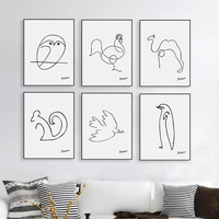 Canvas Printing Of Picasso Minimalist Abstract Line Drawing Art Print Poster Wall Picture Home Decor Painting