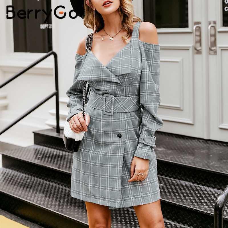 BerryGo элегантное платье с v-образным вырезом и поясом, офисный женский клетчатый Блейзер, женское повседневное короткое платье на бретелях, осенне-зимнее вечернее платье, femme