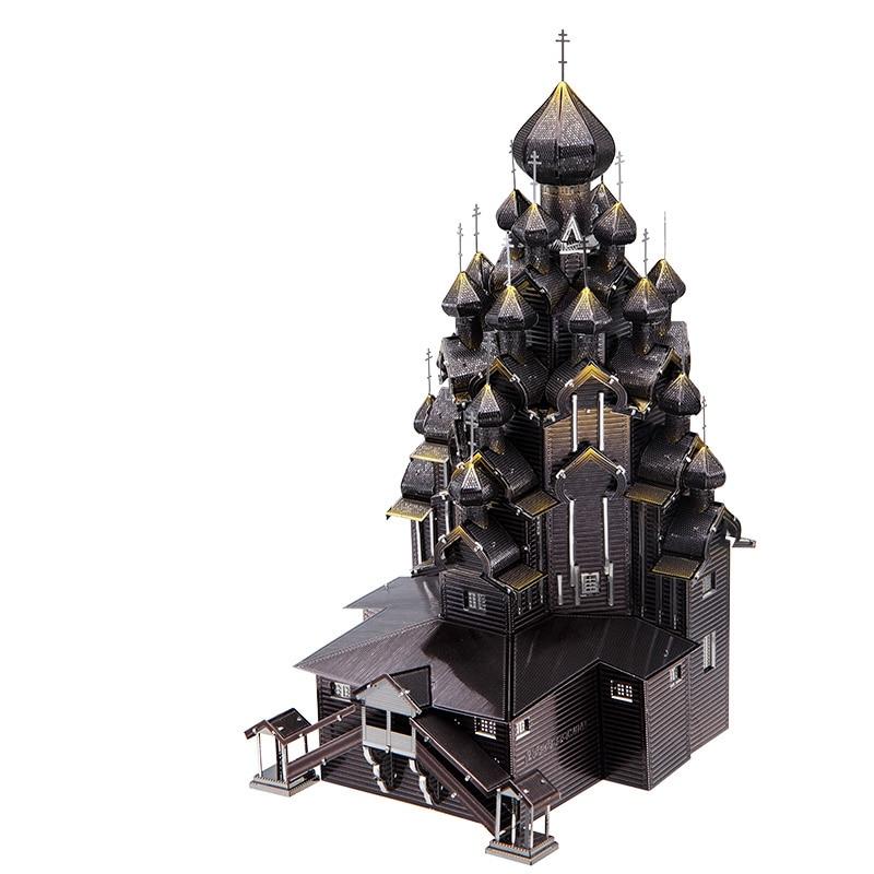 Piececool Russia Kizhi Church Of The Transfigu Architecture DIY 3d Metal Nano Puzzle Assemble Model Kits P088 Laser Cut Jigsaw T