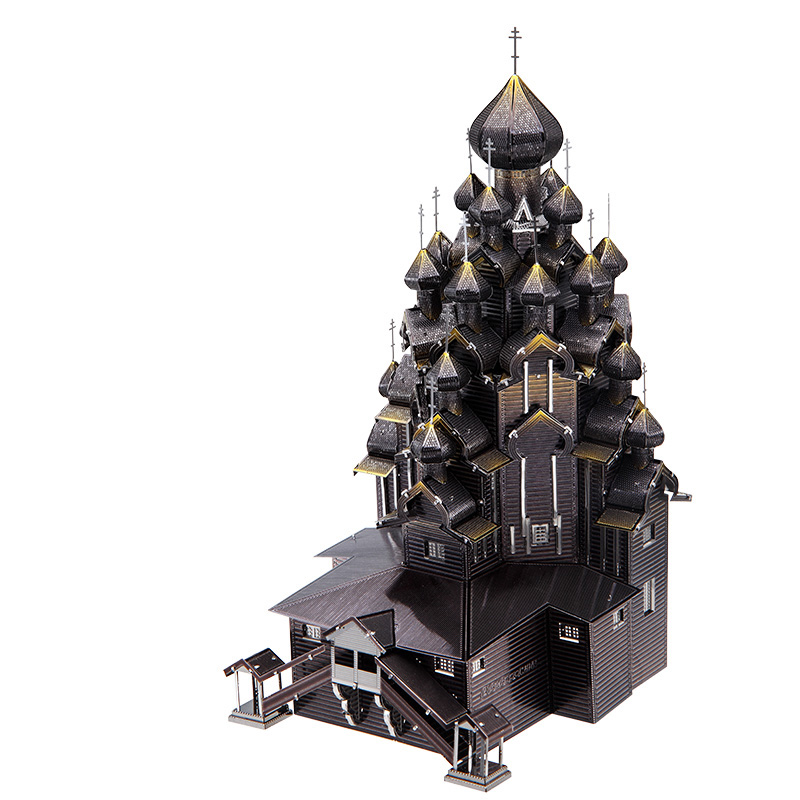 Piececool Russia Kizhi Church Of The Transfigu Architecture DIY 3d Metal Nano Puzzle Assemble Model Kits P088 Laser Cut Jigsaw T