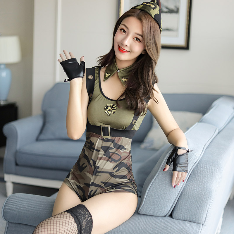 Camouflage Policewoman Soldier Costume <font><b>Sexy</b></font> <font><b>Army</b></font> Uniform Dress Halloween Party Military Instructors <font><b>Cosplay</b></font> Clothing image