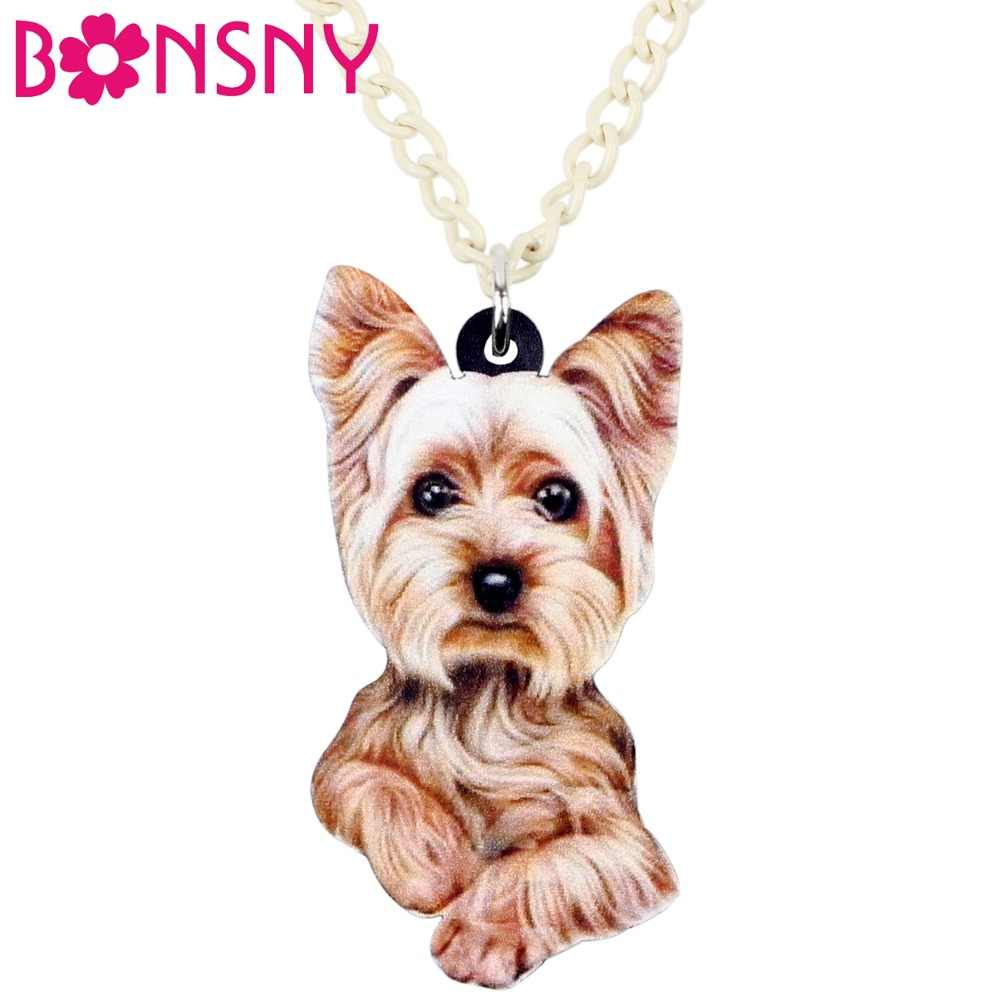 Bonsny Statement Acrylic Fluffy Yorkshire Terrier Dog Necklace Pendant Collar Cartoon Animal Jewelry For Women Girls Ladies Bulk