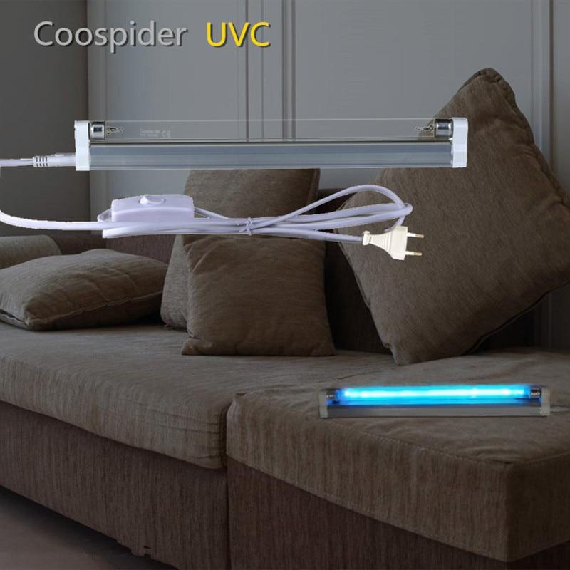T5 Linear Germicidal Quartz UVC Lamp Light Ozone Sterilize Disinfection Ultraviolet Tube Bulb Kill Dust Mite 4W 6W 8W 110/220V