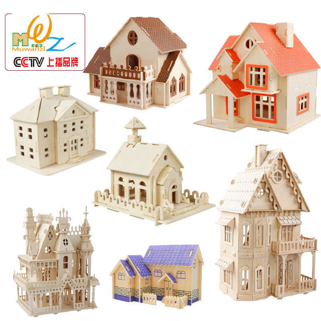 Free shipping construction 3D puzzles wooden house class 6 puzzle ...