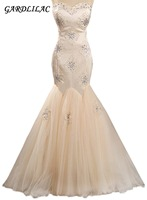 Gardlilac Stain& Tulle Sweetheart Mermaid Wedding Dress Off the shoulder Beading Wedding Gown Champagne Bridal Gown