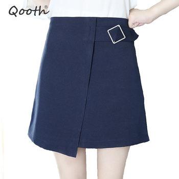 Qooth estilo Preppy Mini elegantes Faldas para mujer Saia Skort 2020 otoño Faldas cintura alta blanca Falda corta de talla grande XS-2XL QH1445