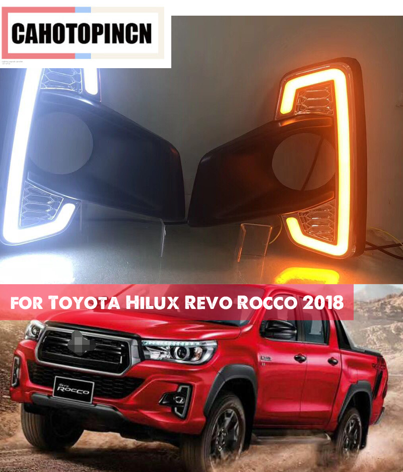 1 Set For Toyota Hilux Revo Rocco 2018 DRL LED Daytime Running Lights Diglight 12V ABS