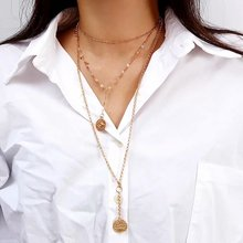 WNGMNGL New Femme Multilayer Circle Pendant Gold Silver Color Necklace For Women  Fashion Long Set 3pcs Choker Jewelry
